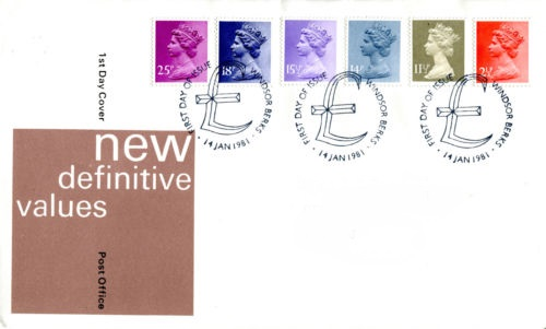 1981 GB - FDC - 6 x Changed Definitives 2½p to 25p (Unaddressed)